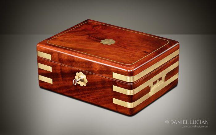 Antique Jewellery Box in Solid Mahogany, by Asprey.