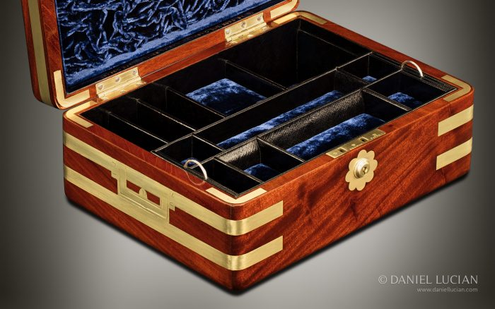 Antique Jewellery Box in Solid Mahogany, by Asprey.