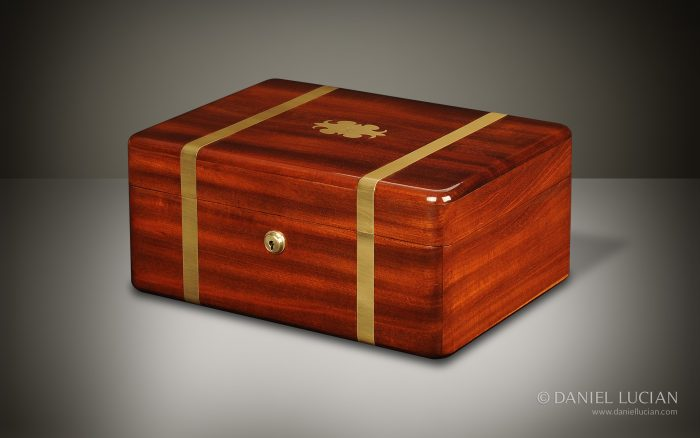 Antique Box in Cuban Mahogany with Brass Strapping, by George Palmer.