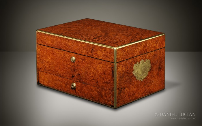 Burr Walnut Antique Jewellery Box Manufactured by Howell James & Co.