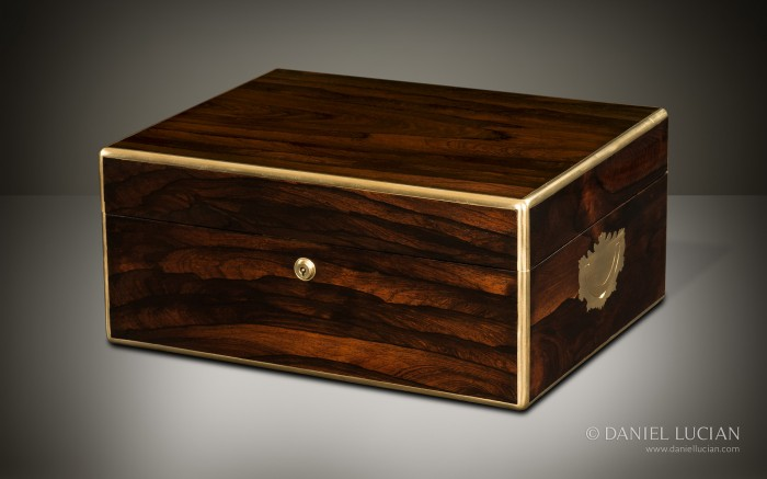 Antique Jewellery Box in Rosewood, by Bramah, Prestage & Ball.