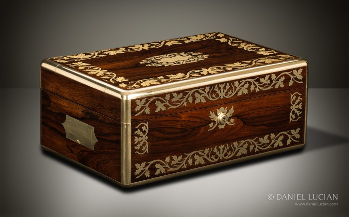 Antique Jewellery Box in Rosewood with Foliate Brass Inlay.