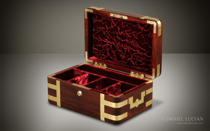 Antique Box in Mahogany with Brass Strapping.