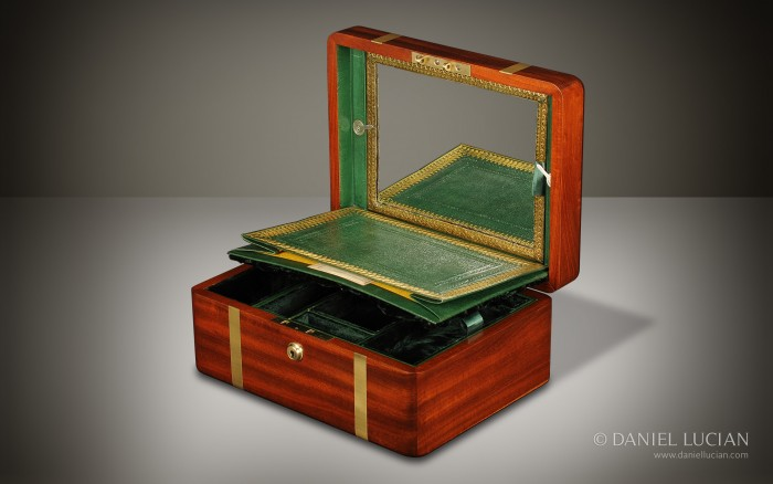 Antique Box in Cuban Mahogany with Brass Strapping.