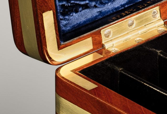 Brass Corner Mounts from an Antique Jewellery Box in Solid Mahogany, by Asprey.
