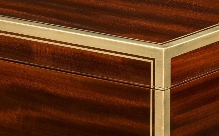Right-Angle Brass Edging on an Antique Officer's Box in Cuban Mahogany, by David Edwards.