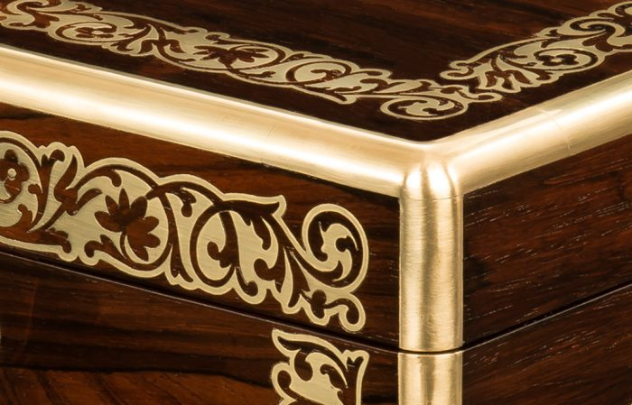 Brass Radial Edging on an Antique Jewellery Box in Rosewood with Foliate Brass Inlay, by Austin of Dublin.