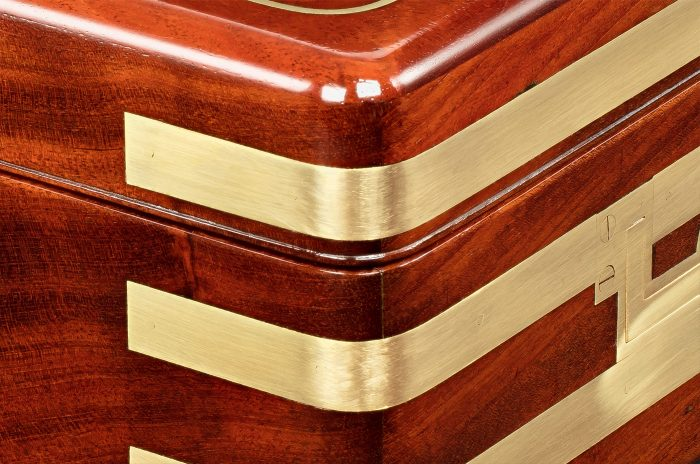 Brass Strapped Binding on an Antique Jewellery Box in Solid Mahogany, by Asprey.