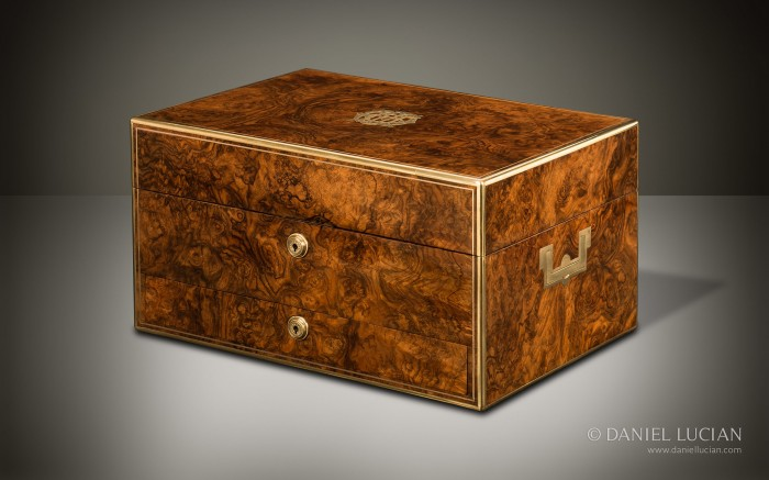 Antique Dressing Case in Burr Walnut with Silver-Gilt / Gold Fittings by Asprey & Sons.