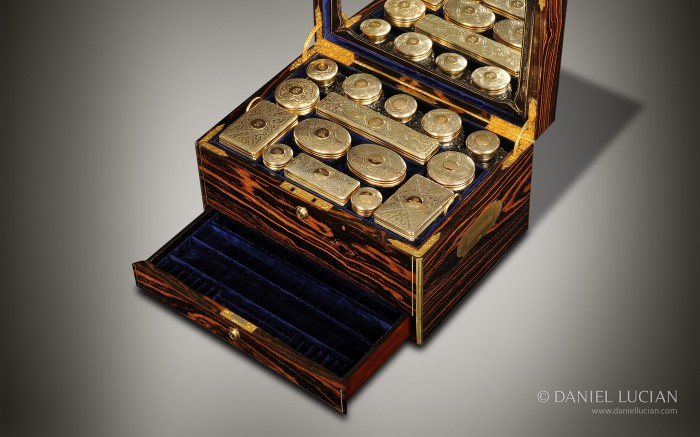 Antique Dressing Case in Calamander with Silver-Gilt / Gold Fittings by Walter Thornhill.