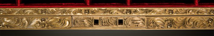 Brass Lock Plate and Internal Facing Engraved with a Floral and Scrollwork Design, from an Antique Jewellery Box in Coromandel with Engraved Brass Inlay.