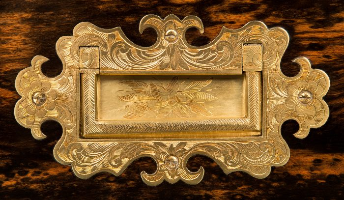 Neoclassical Shaped and Engraved Brass Side Handle from an Antique Jewellery Box in Coromandel with Brass Inlay.