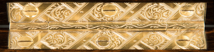 Antique Brass Hinge with 'Bright-Cut' Engraved Decoration.