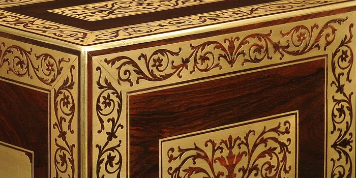 Foliate Brass Inlay from an Antique Rosewood Jewellery Cabinet.
