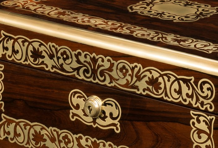 Inlaid Brass Foliate Designs on a Rosewood Antique Jewellery Box by Austin of Dublin.
