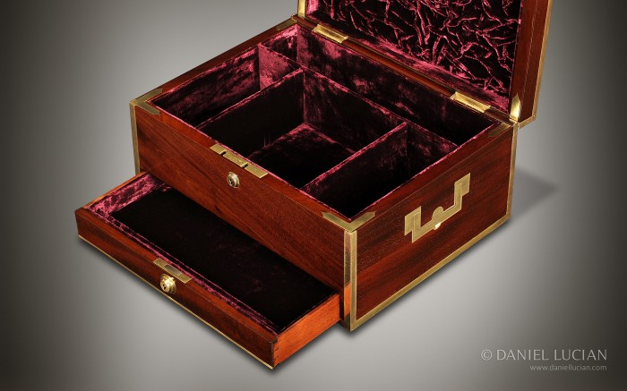 Mahogany Antique Box with Brass Edging.