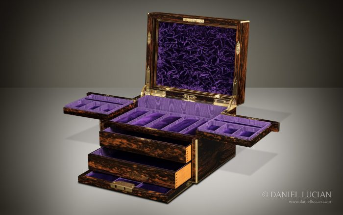 Antique Jewellery Box in Coromandel, Retailed by C.F Hancock - A Wedding Present from the Marquess of Queensberry to the Marchioness of Queensberry.