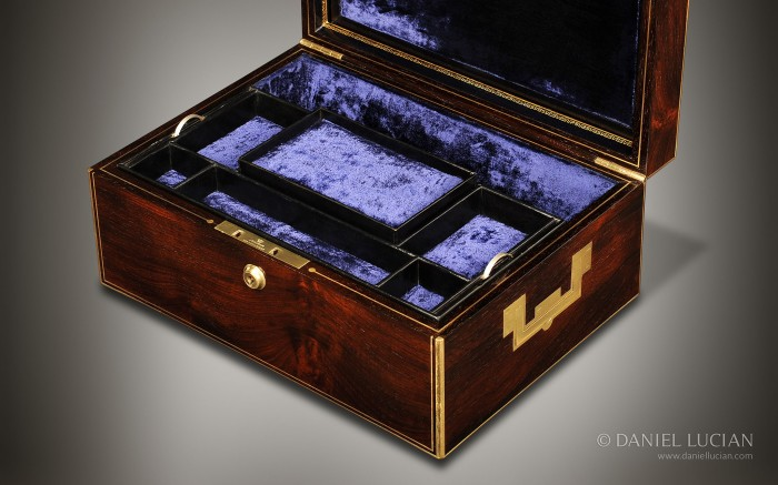 Antique Jewellery Box in Rosewood by Edwards, 21 King Street, Bloomsbury, London.