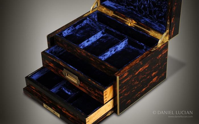 Two Solid Satinwood Drawers Opening from a Coromandel Antique Jewellery Box.