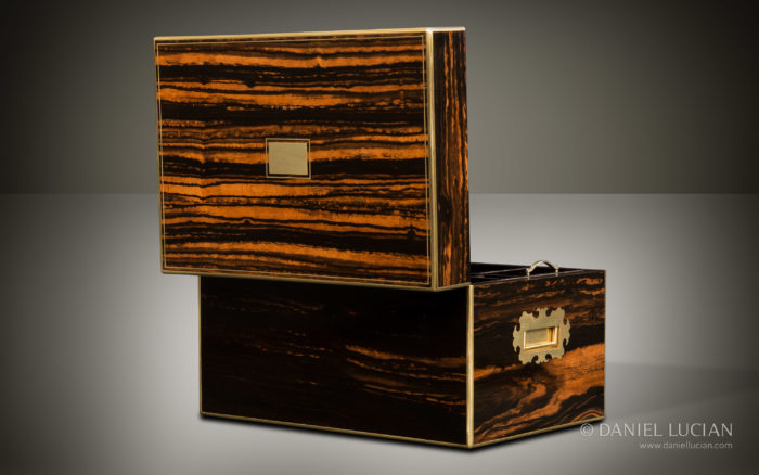 Antique Jewellery Box in Calamander, Retailed by Lambert & Co.