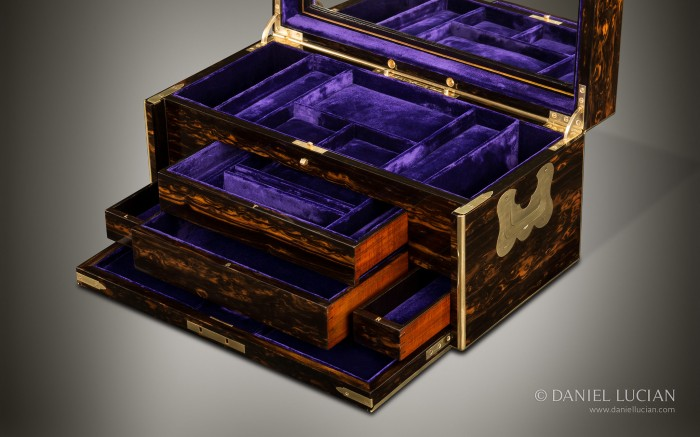 Antique Coromandel Jewellery Box with Concealed Drawers, by William Leuchars.