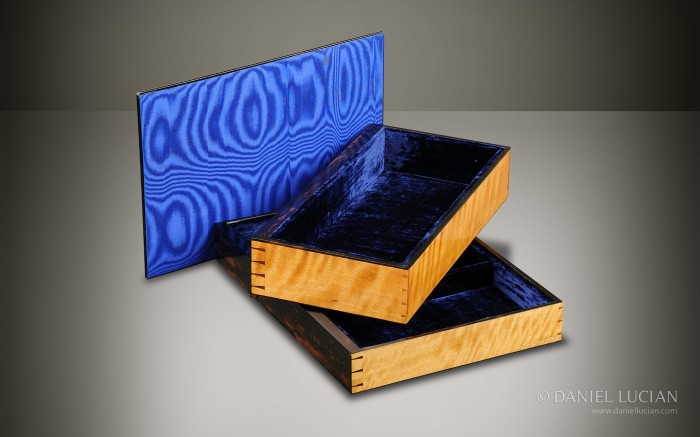 Two Solid Satinwood Drawers from a Coromandel Antique Jewellery Box.
