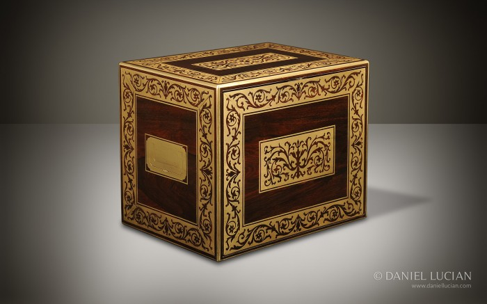Antique Jewellery Cabinet in Rosewood with Foliate Brass Inlay and Ten Drawers.