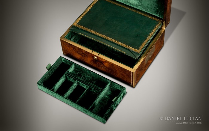 Antique Jewellery Box in Rosewood with Duke Insignia by Edwards.