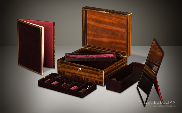 Antique Jewellery Box in Calamander Wood by Edwards.