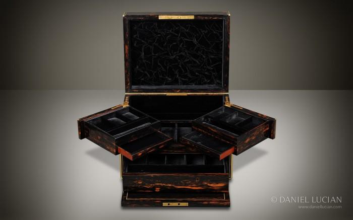 Coromandel Antique Jewellery Box with Cantilever Mechanism by C. F Hancock.