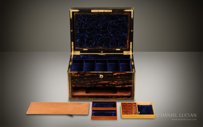 Coromandel Antique Jewellery Box with Drawers and Secret Floor Compartments.