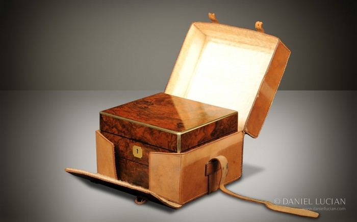 Leather Outer Case for a Burr Walnut Antique Vanity Box.