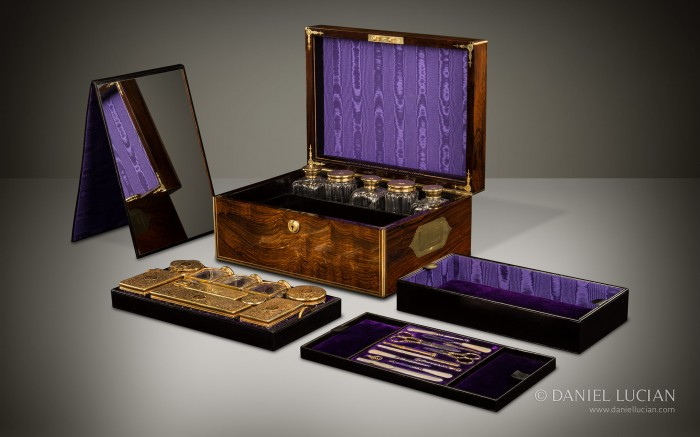 Antique Dressing Case in Rosewood with Silver-Gilt / Gold Fittings by Asprey.