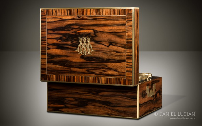 Antique Dressing Case in Calamander with Silver-Gilt / Gold Fittings by Asprey.