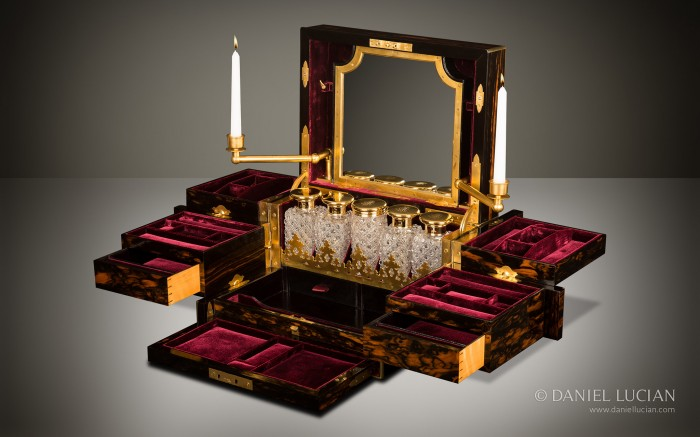 Asprey Antique Jewellery Box with Betjemann Patent Mechanism and Candlesticks.