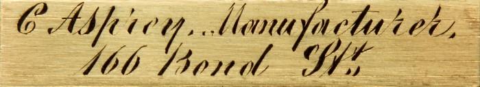 Charles Asprey Engraved Brass Maker's Plate.