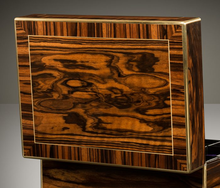 Cross-Banded Calamander Veneer on an Antique Jewellery Box with Removable Secret Compartments, by Asprey.