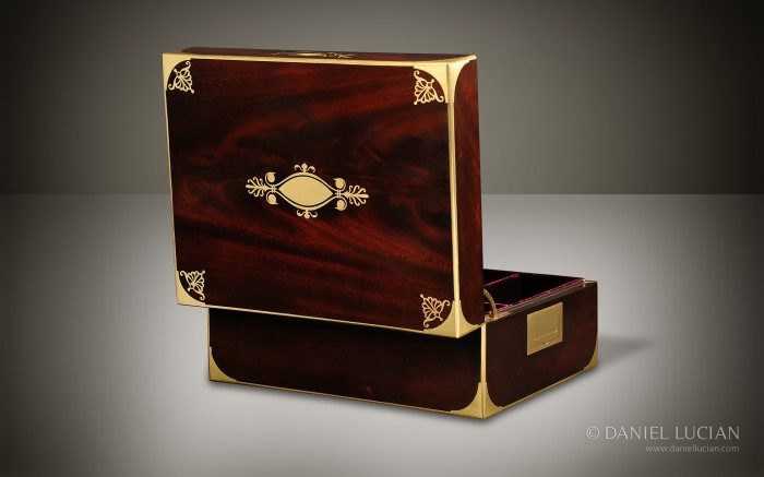 French Mahogany Antique Jewellery Box with Brass Inlay.