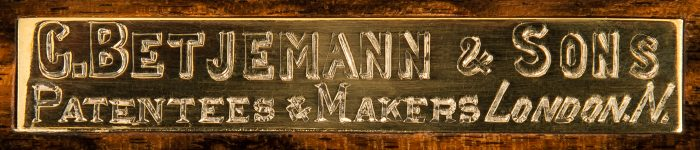 George Betjemann & Sons Maker's Plate.