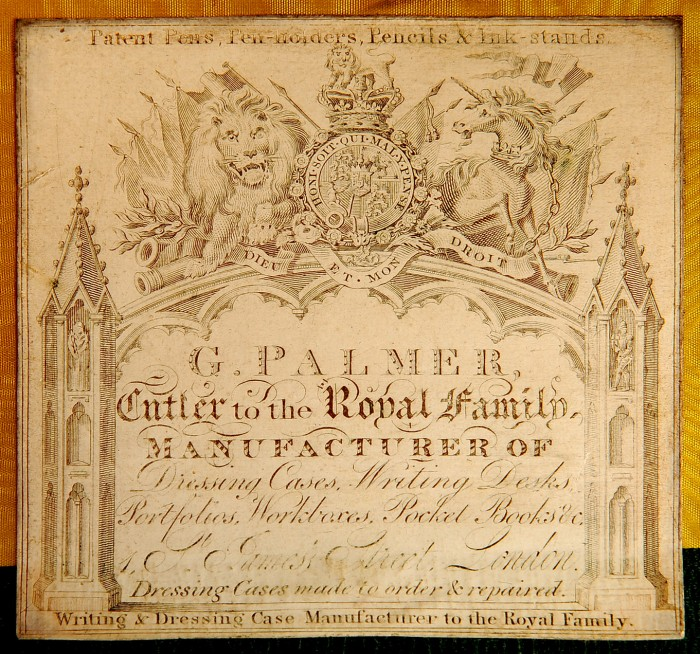 Paper label bearing the manufacturer's and retailer's mark of, George Palmer of 1 St James's Street, London.