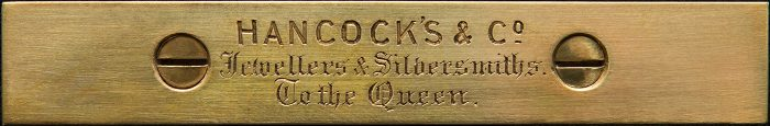 Hancock's & Co Engraved Brass Retailer's Plate.