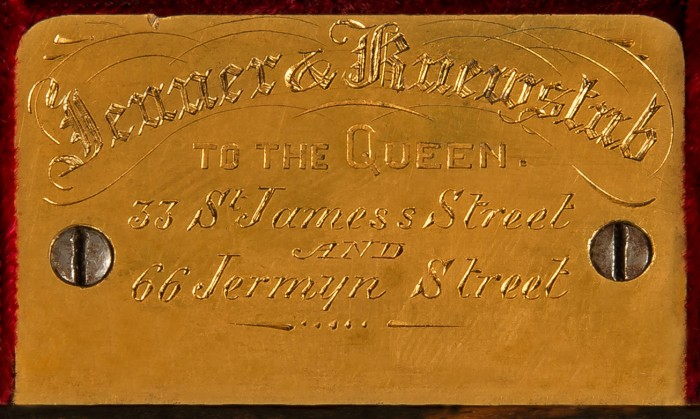 Engraved brass plate bearing the manufacturer's and retailer's mark of, Jenner & Knewstub of 33 St James's Street and 66 Jermyn Street, London.