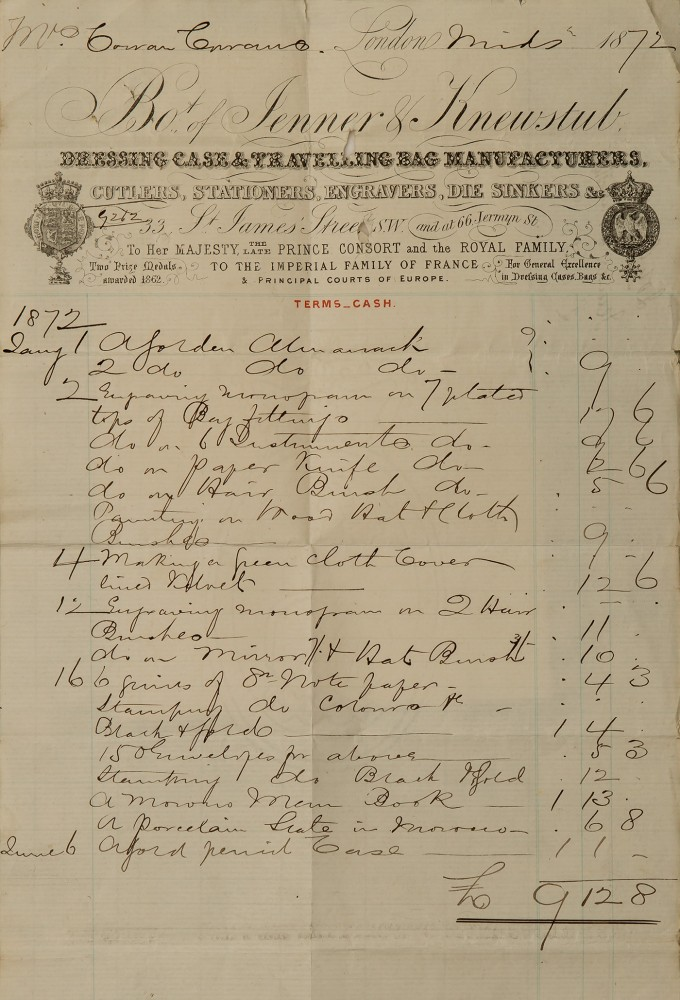 Invoice from Jenner & Knewstub, dated 1872.
