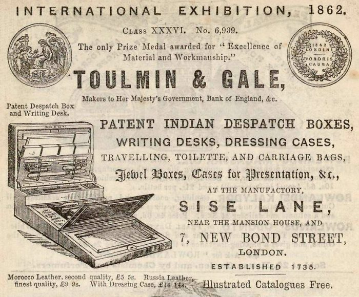 Toulmin & Gale newspaper advert from 1863.