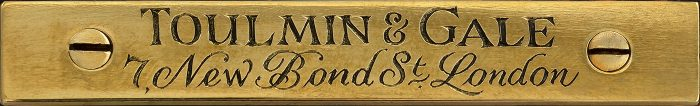 Toulmin & Gale Engraved Brass Manufacturer's Plate from an Antique Jewellery Box in Coromandel with Cantilever Mechanism.