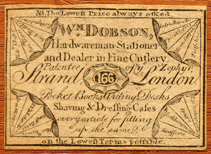 Paper label bearing the manufacturer's mark of, William Dobson of 166 Strand, London.