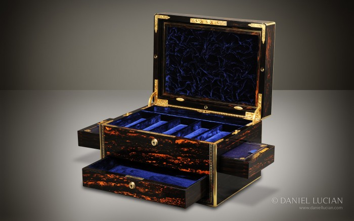 Coromandel Antique Jewellery Box with Drawers and Secret Floor Compartment.