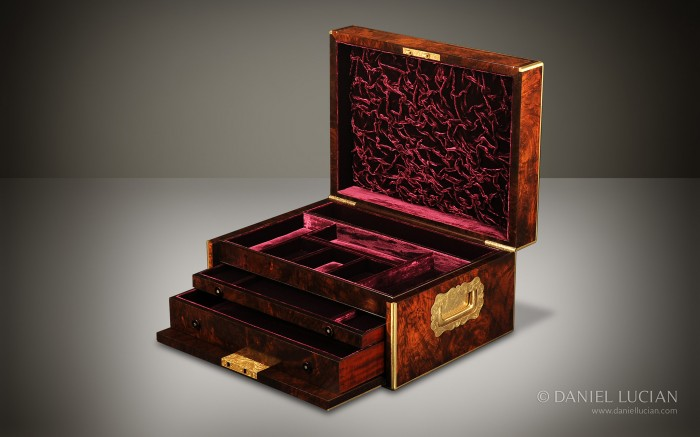 Walnut Antique Jewellery Box with Drop Front and Concealed Drawers.