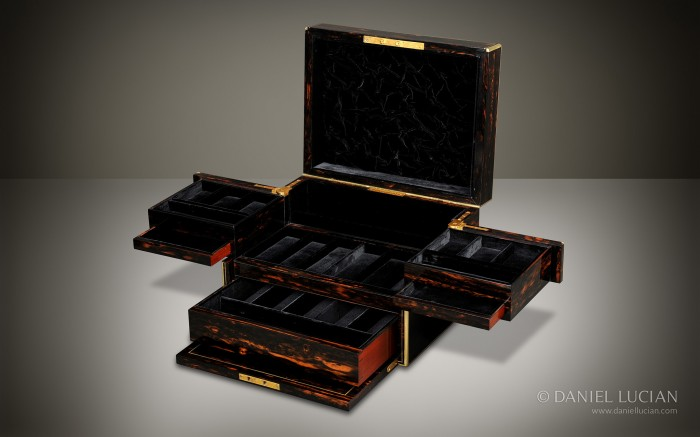 Antique Jewellery Box in Coromandel with Cantilever Mechanism by C. F Hancock & Son.