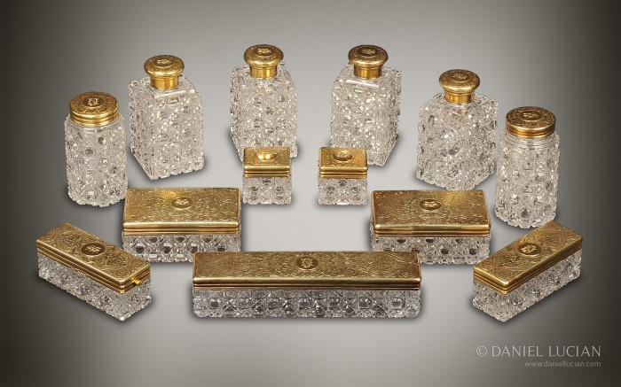 Antique Hobnail Cut Glass Vanity Bottles taken from a Jenner & Knewstub Coromandel Dressing Case.